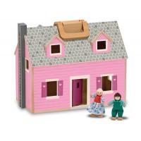 M&D lesena prenosna hišica za punčke
